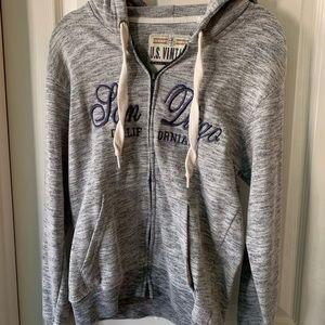 Tops - grey zip up san diego sweater, worn once